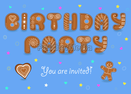 birthday party invitation gingerbread font
