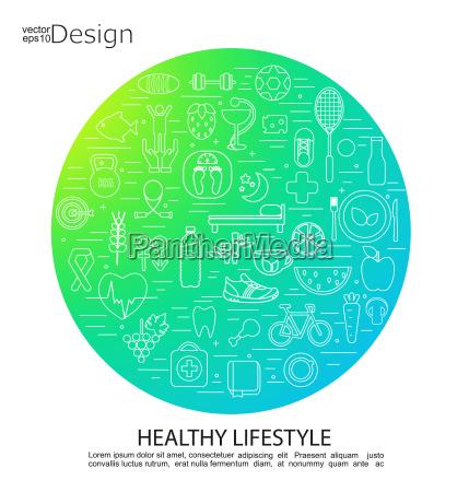 healthy lifestyle concept symbols