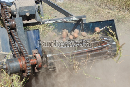 tractor with equipment for digging the