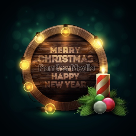 vector illustration of wooden christmas and