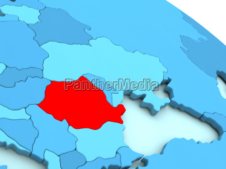 romania in red on blue globe