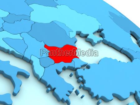 bulgaria in red on blue globe