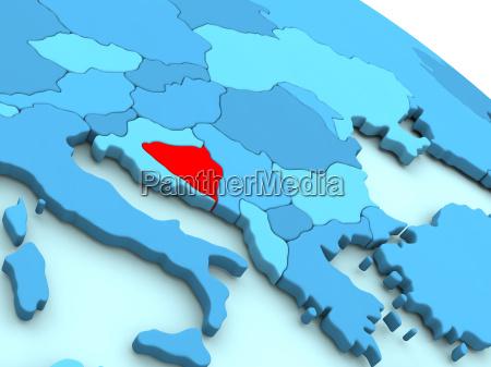 bosnia in red on blue globe