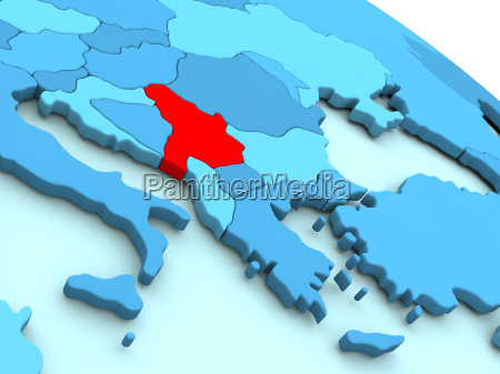 serbia in red on blue globe