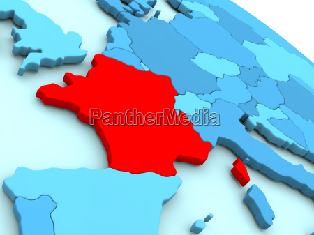 france in red on blue globe