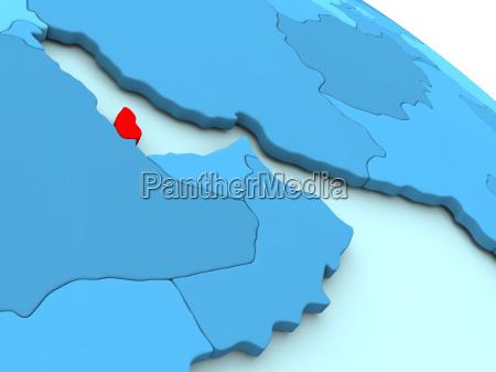 qatar in red on blue globe