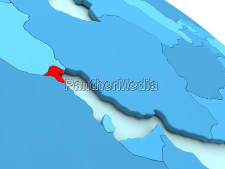 kuwait in red on blue globe