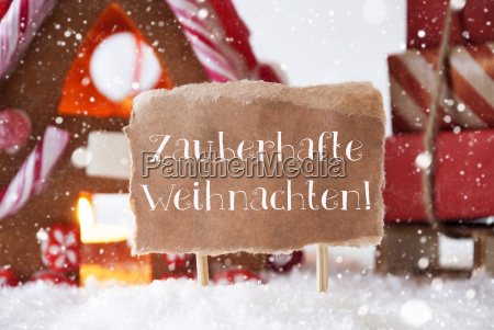 gingerbread, house, , sled, , snowflakes, , weihnachten, means - 19122093
