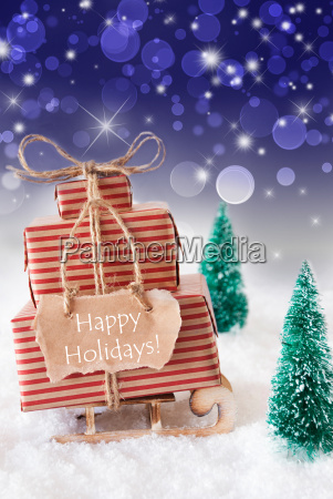 vertical, christmas, sleigh, on, blue, background, - 19122175