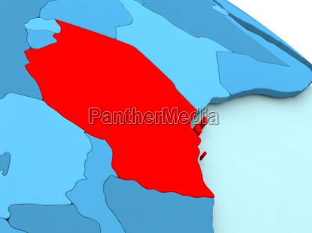 tanzania in red on blue globe