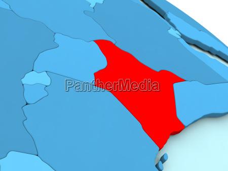 kenya in red on blue globe