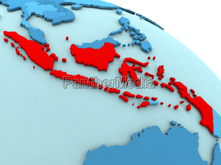 indonesia in red on blue globe