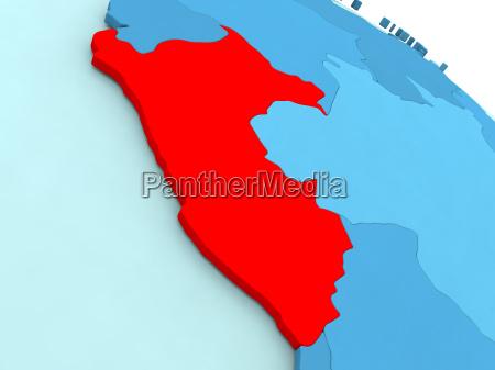 peru in red on blue globe