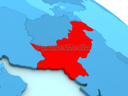 pakistan, in, red, on, blue, globe - 19123317