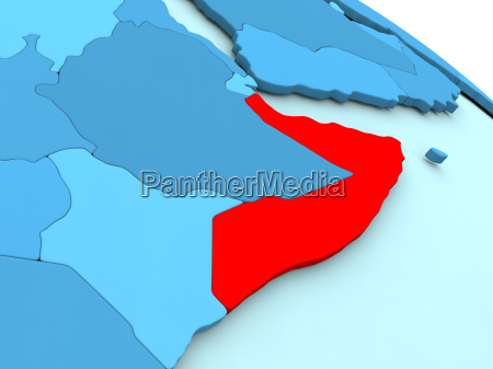 somalia, in, red, on, blue, globe - 19123313