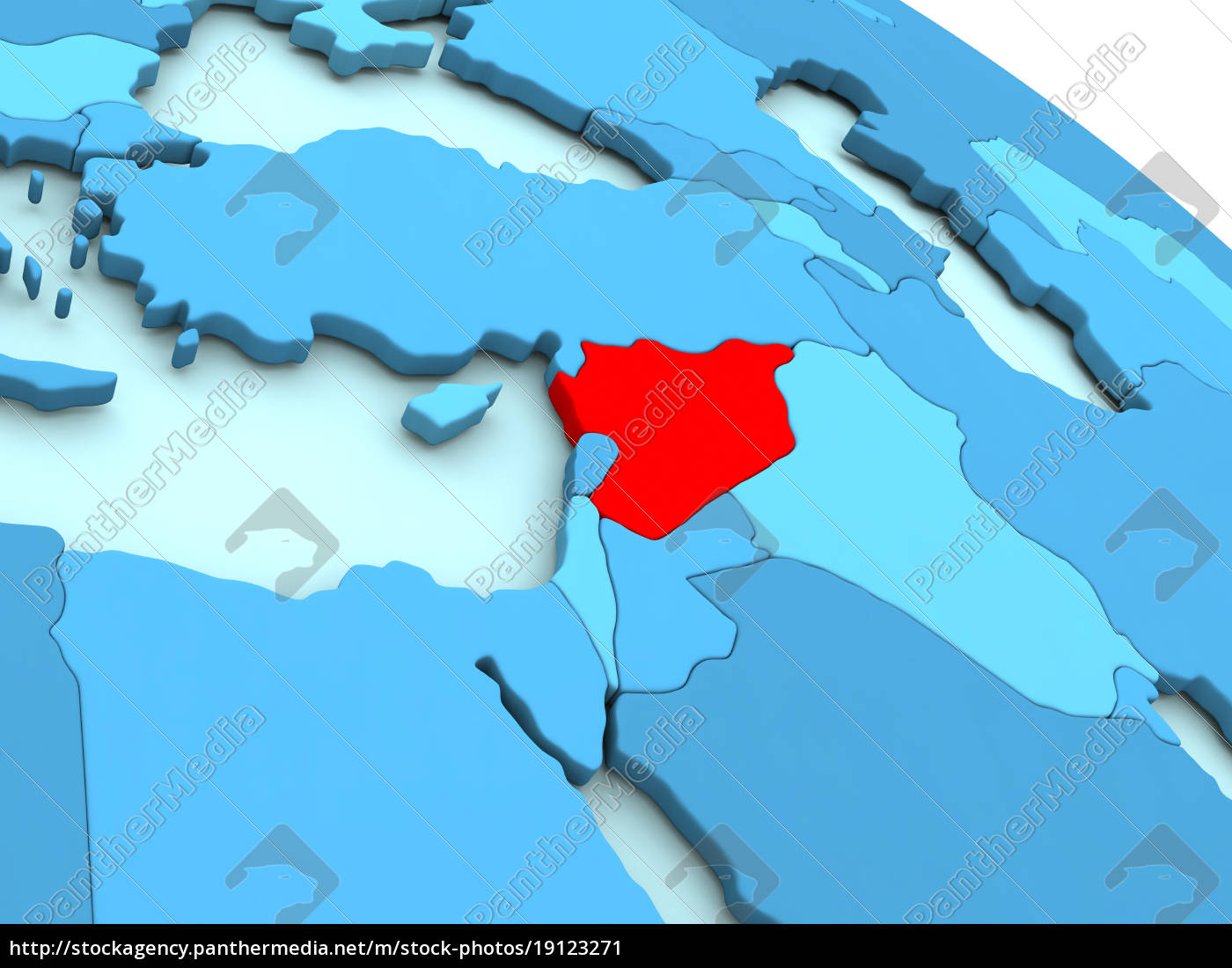 syria, in, red, on, blue, globe - 19123271