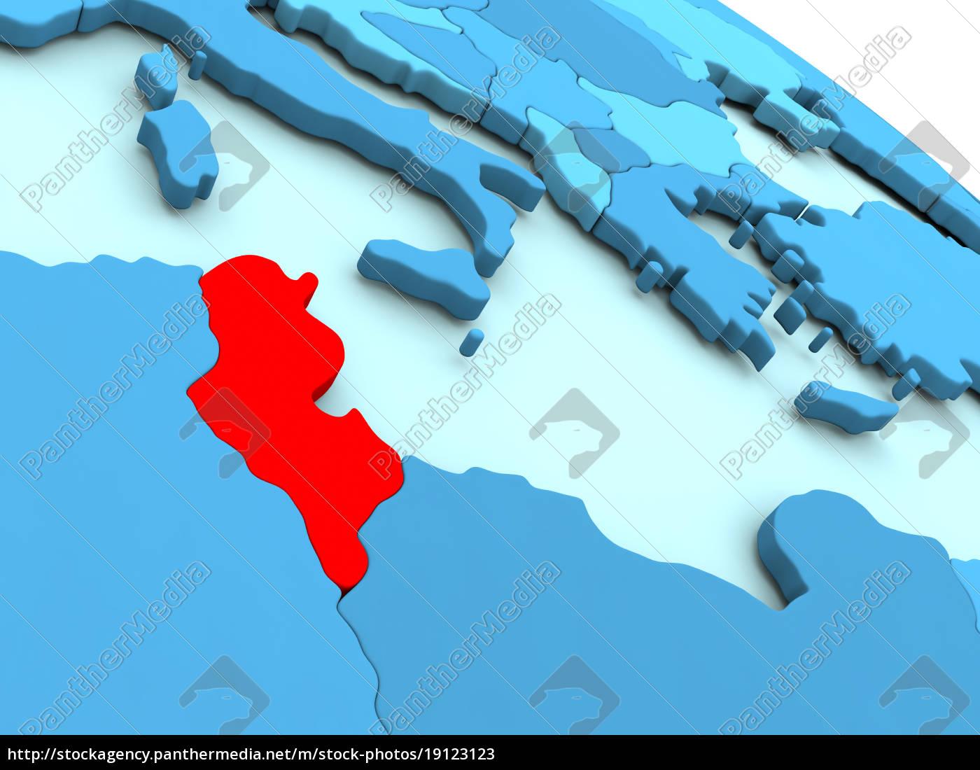 tunisia, in, red, on, blue, globe - 19123123