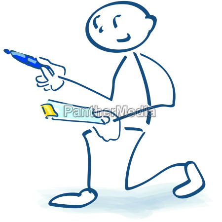 stick figure with clipboard and review