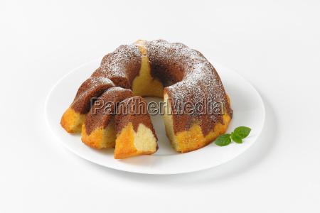 partially, sliced, marble, bundt, cake - 19127925