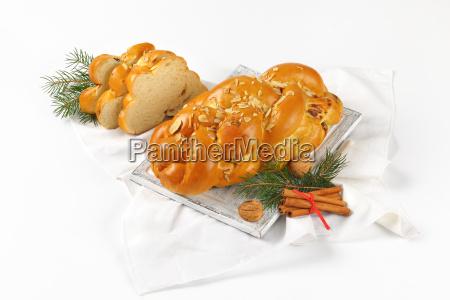 christmas, sweet, braided, bread - 19128023