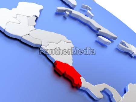 costa rica on world map