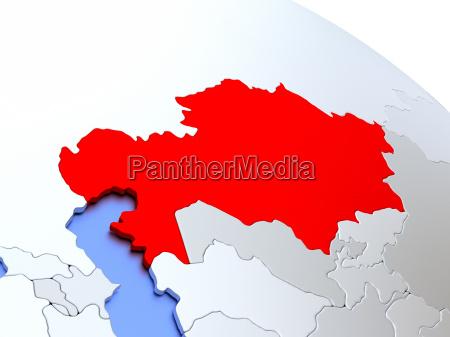 kazakhstan on world map