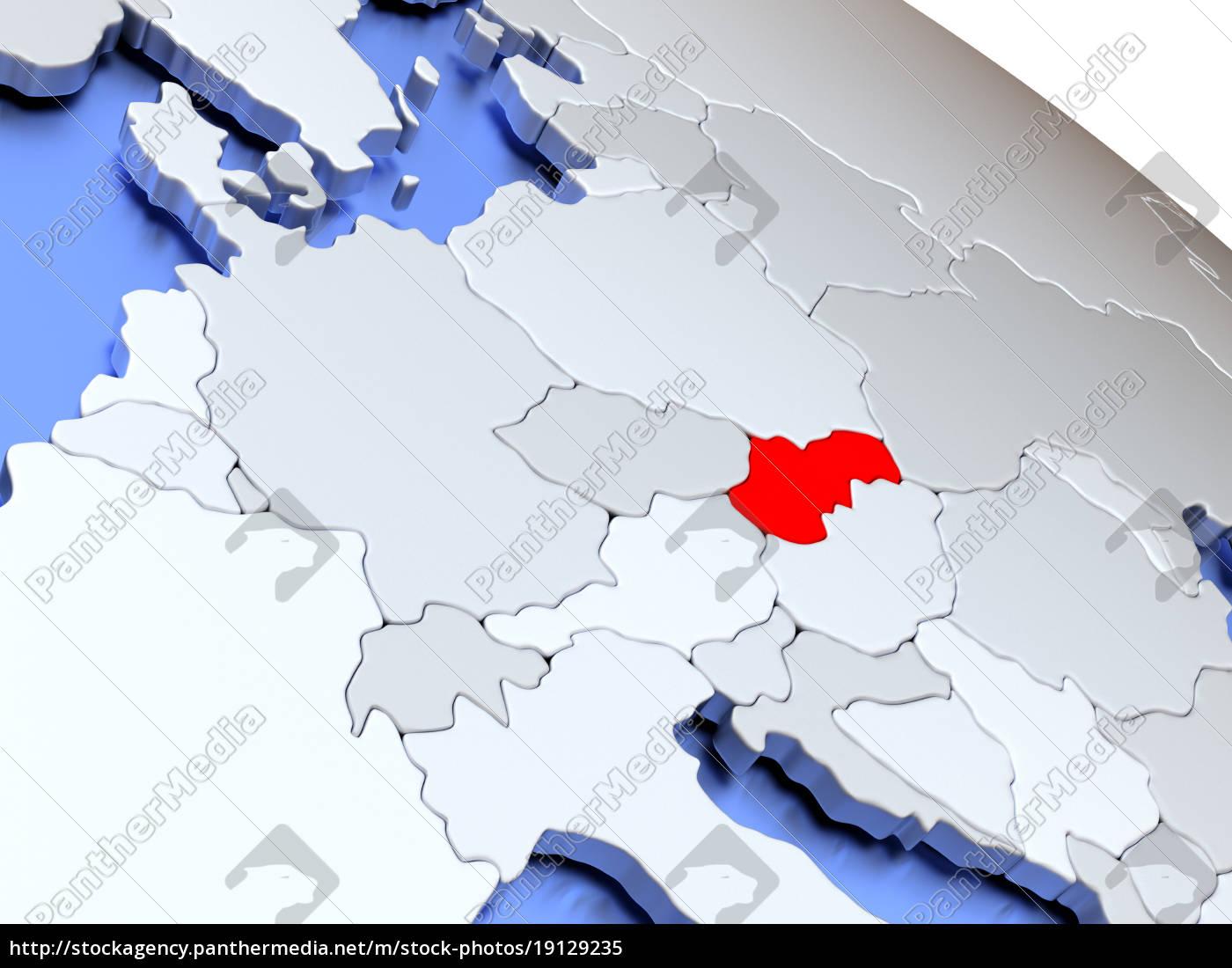 slovakia, on, world, map - 19129235