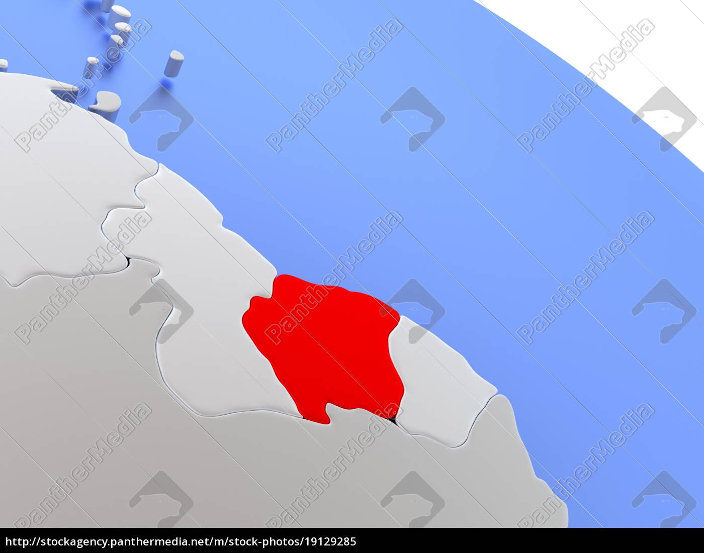 suriname, on, world, map - 19129285