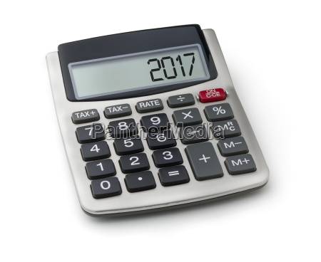 calculator with the word 2017 in