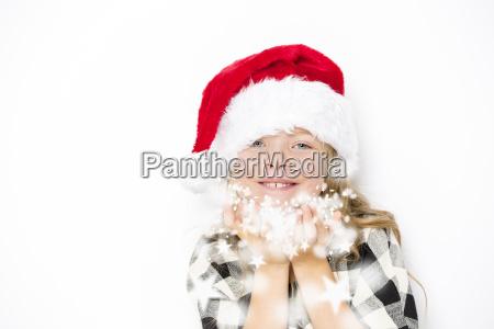 happy christmas girl in santa hat
