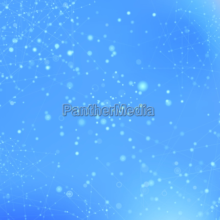 blue technology background with particle molecule