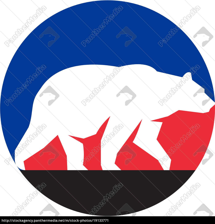 grizzly, bear, walking, silhouette, circle, retro - 19133771