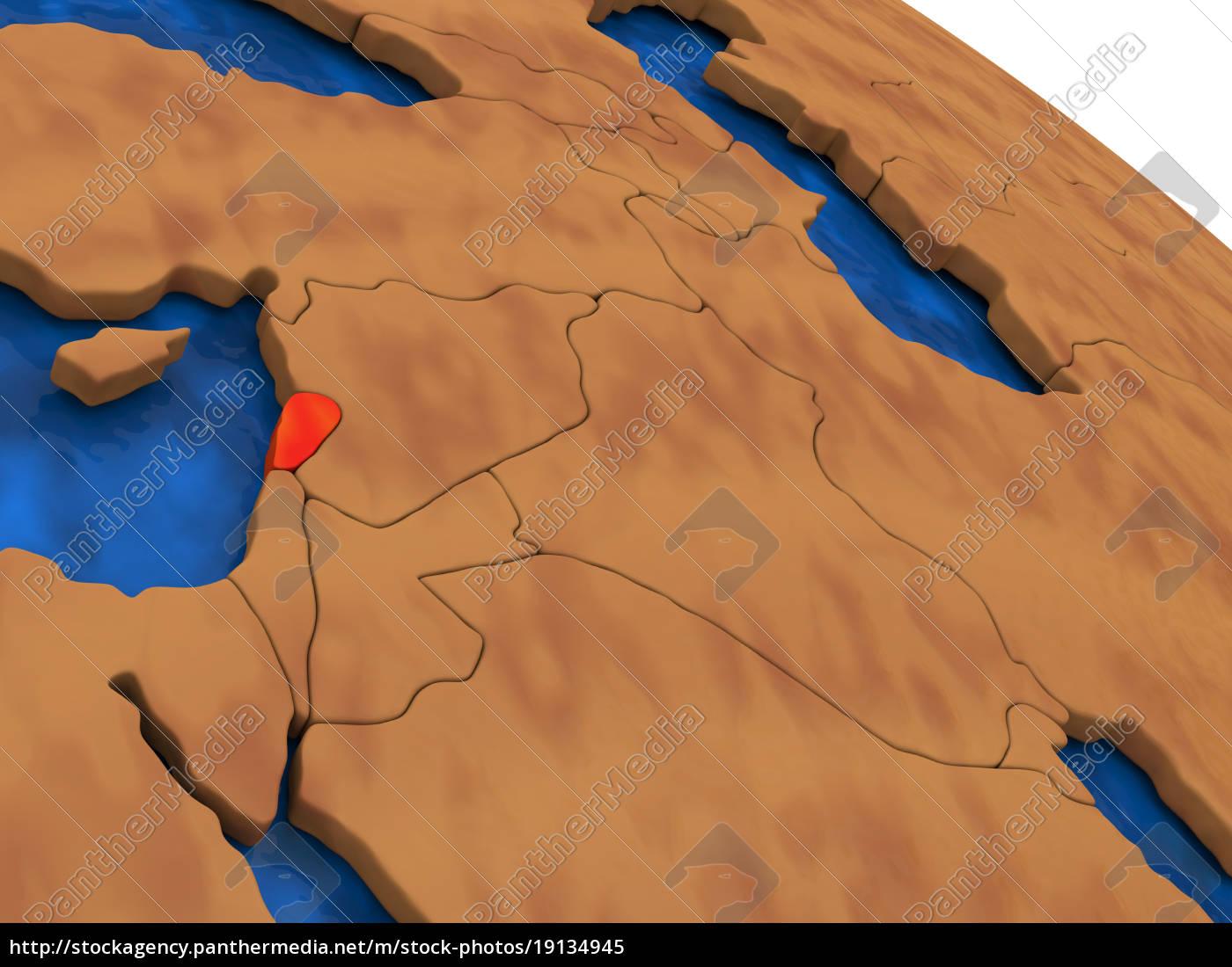 lebanon, on, wooden, globe - 19134945