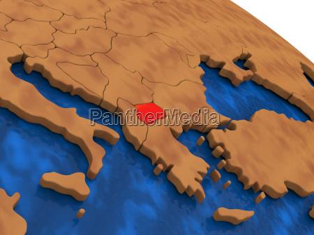 macedonia on wooden globe