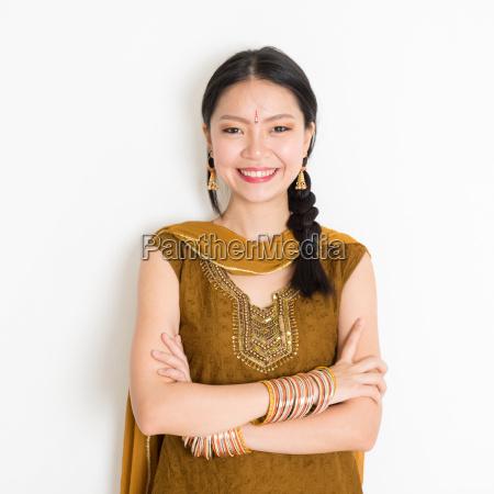 mixed race indian woman in sari
