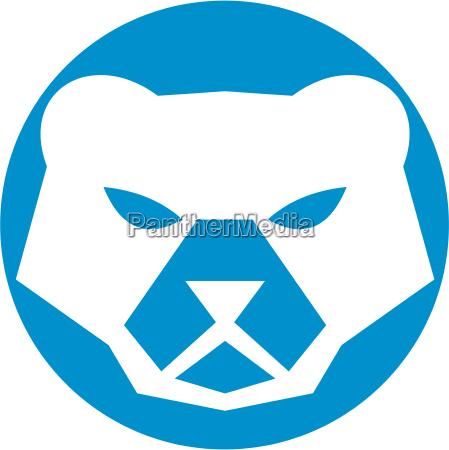 polar bear head circle retro