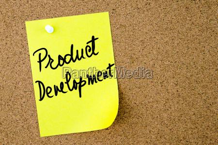 product development text written on yellow