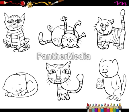 cat characters coloring book