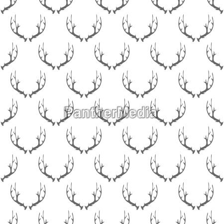 animal horns seamless pattern on white