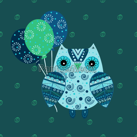 cute, owl, with, ethnic, ornament, birthday - 19157635