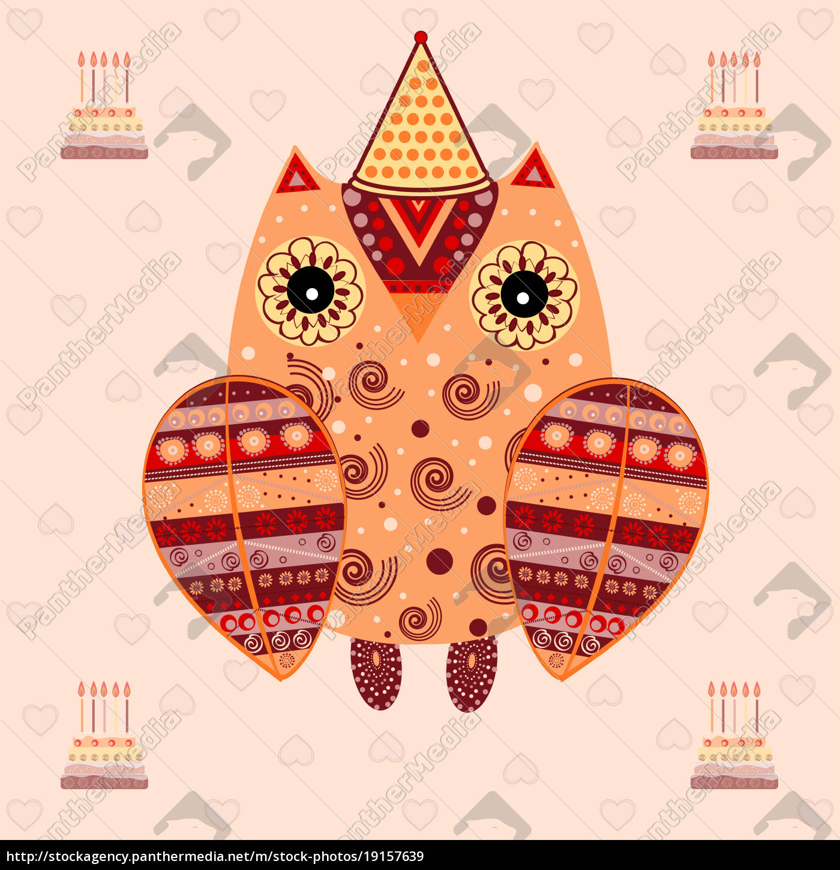 cute, owl, with, ethnic, ornament, birthday - 19157639