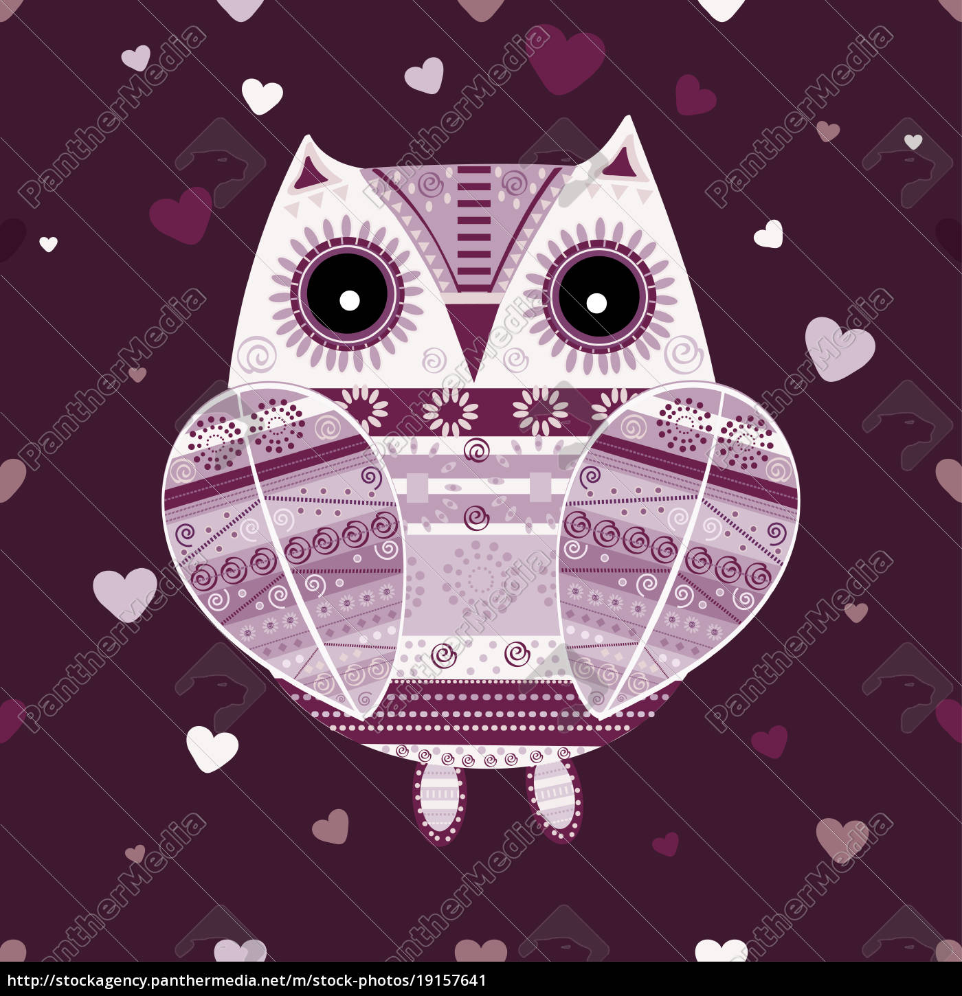 cute, owl, with, ethnic, ornament - 19157641