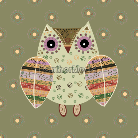 cute, owl, with, ethnic, ornament - 19157645
