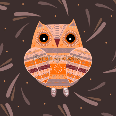 cute, owl, with, ethnic, ornament - 19157647