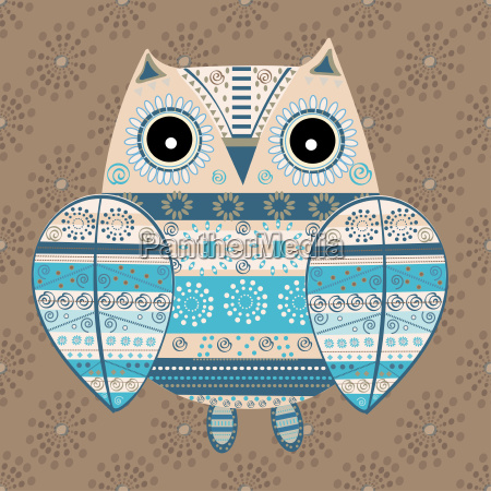 cute, owl, with, ethnic, ornament - 19157649