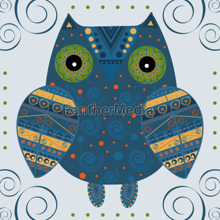 cute, owl, with, ethnic, ornament - 19157671