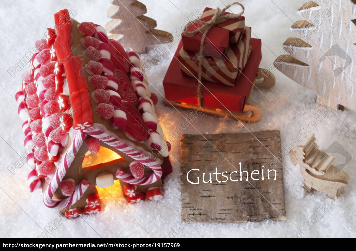 gingerbread, house, , sled, , snow, , gutschein, means - 19157969