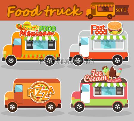 food truck vector illustrations