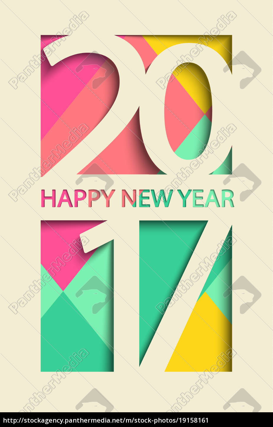 new, 2017, year, greeting, card., vector. - 19158161