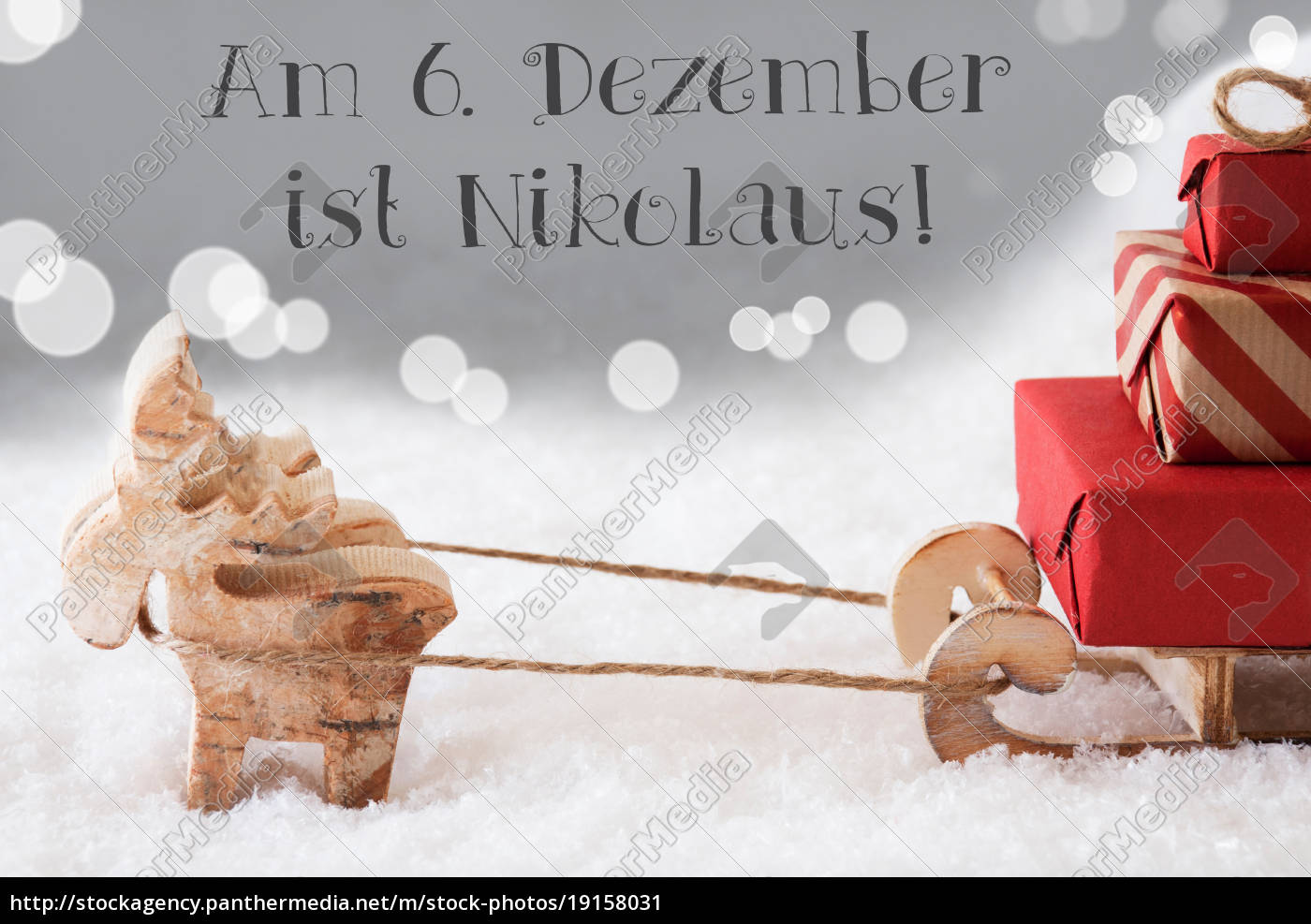 reindeer, with, sled, , silver, background, , nikolaus - 19158031